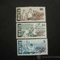 Sellos: MALTA 1976 IVERT 524/6 *** JUEGOS OLÍMPICOS DE MONTRAL - DEPORTES - WATERPOLO - VELA - ATLETISMO. Lote 29189818