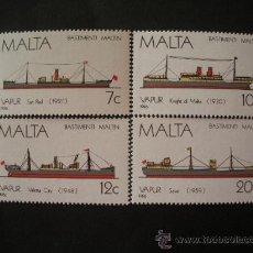 Sellos: MALTA 1986 IVERT 739/42 *** HISTORIA DE LA MARINA MALTESA (IV) - BARCOS. Lote 29352744