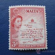 Sellos: 1956 MALTA, ISABEL II, YVERT 245 . Lote 30396439