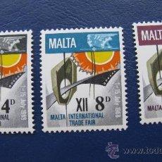 Sellos: 1968 MALTA, 12 FERIA COMRCIAL INTERNACIOAL,YVERT 375/7. Lote 30396624