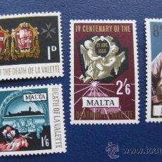Sellos: 1968 MALTA, 4º CENT. DE JEAN PARISOT DE LA VALETTE, YVERT 378/81. Lote 30396670
