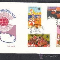 Sellos: MALTA 664/7 PRIMER DIA, MAPA, FAUNA, BARCO, TURISMO, INDUSTRIA, DIA COMMONWEALTH . Lote 32858869