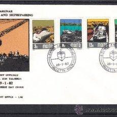 Sellos: MALTA 643/6 PRIMER DIA, BARCO, ASTILLEROS, CONSTRUCCION Y REPARACION NAVAL EN TARZNAR. Lote 32861313
