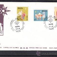 Sellos: MALTA 640/2 PRIMER DIA, NAVIDAD, INFANCIA, RELIGION, PROCESION, MISA DEL GALLO, . Lote 32861368