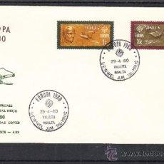 Sellos: MALTA 603/4 PRIMER DIA, TEMA EUROPA, LITERATURA, POETA RUZAR BRIFFA, ESCRITOR MIKIEL ANTON VASSALI,. Lote 32861713