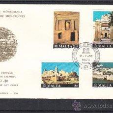 Sellos: MALTA 598/601 PRIMER DIA, CAMPAÑA U.N.E.S.C.O., RESTAURACION MONUMENTOS, . Lote 32861891