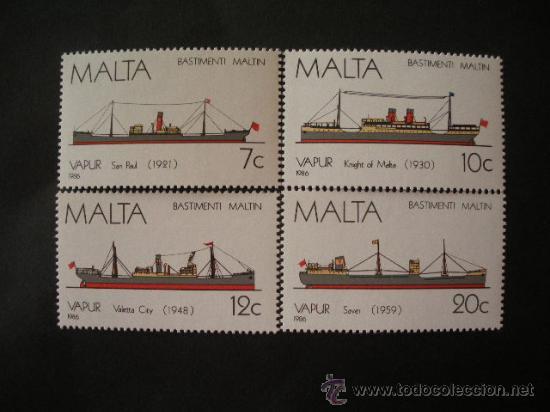 MALTA 1986 IVERT 739/42 *** HISTORIA DE LA MARINA MALTESA (IV) - BARCOS (Sellos - Extranjero - Europa - Malta)