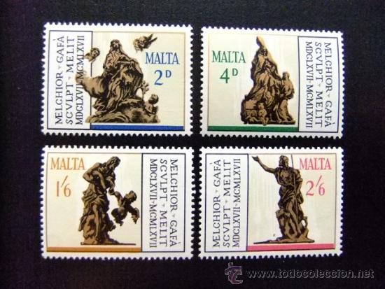 MALTA YVERT Nº 358 - 361 ** ESCULTURAS DE MELCHIOR (Sellos - Extranjero - Europa - Malta)