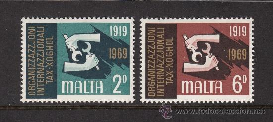 MALTA 389/90** - AÑO 1969 - 50º ANIVERSARIO DE LA ORGANIZACION INTERNACIONAL DEL TRABAJO (Sellos - Extranjero - Europa - Malta)