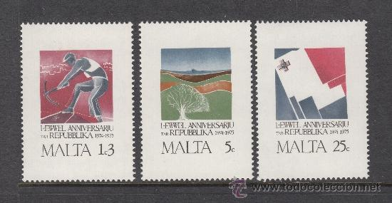 MALTA 516/18** - AÑO 1975 - ANIVERSARIO DE LA REPUBLICA (Sellos - Extranjero - Europa - Malta)