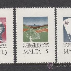 Sellos: MALTA 516/18** - AÑO 1975 - ANIVERSARIO DE LA REPUBLICA. Lote 38439448