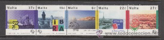 MALTA 1041/45** - AÑO 1999 - 125º ANIVERSARIO DE LA UNION POSTAL UNIVERSAL (Sellos - Extranjero - Europa - Malta)