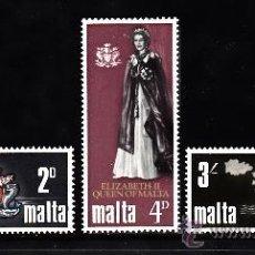 Sellos: MALTA 369/71** - AÑO 1967 - VISITA REAL - REINA ISABEL II. Lote 38706711