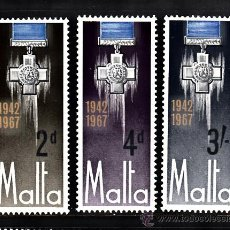 Sellos: MALTA 352/54** - AÑO 1967 - 25º ANIVERSARIO DE LA ENTREGA DE LA GEORGE CROSS. Lote 181200806