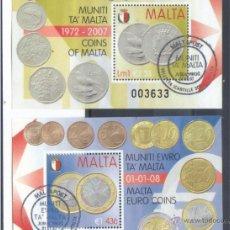 Sellos: MALTA PAREJA HB EURO 2007 Y 2008 PRIMER DIA. Lote 49664498