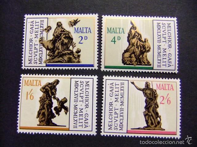 MALTA MALTE 1967 OBRAS DEL ESCULTOR MELCHIOR GAFA YVERT N º 358 /361 ** MNH (Sellos - Extranjero - Europa - Malta)
