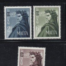 Sellos: MALTA 322/24** - AÑO 1965 - 7º CENTENARIO DEL NACIMIENTO DE DANTE ALIGHIERI. Lote 125073027