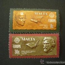 Sellos: MALTA 1980 IVERT 603/4 *** EUROPA - PERSONAJES CÉLEBRES - LITERATURA. Lote 58154758