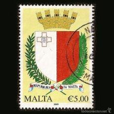 Sellos: MALTA 2009 - SELLO DE 5.00 € - ESCUDO REPUBBLIKA TA' MALTA. Lote 58242858