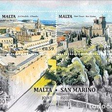 Sellos: MALTA 2016 - MALTA - SAN MARINO JOINT ISSUE SOUVENIR SHEET MNH. Lote 68023993