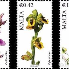 Sellos: MALTA 2017 - MALTESE FLORA SERIES VI STAMP SET MNH. Lote 86684552