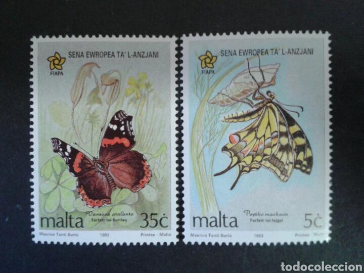 MALTA. YVERT 893/4. SERIE COMPLETA NUEVA SIN CHARNELA. FAUNA. INSECTOS. MARIPOSAS. (Sellos - Extranjero - Europa - Malta)