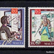Sellos: MALTA 620/21** - AÑO 1981 - AÑO INTERNACIONAL DEL MINUSVÁLIDO. Lote 92774180