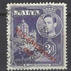 Sellos: MALTA - COLONIA BRITÁNICA - SELLO USADO SOBREIMPRESO. Lote 106068023