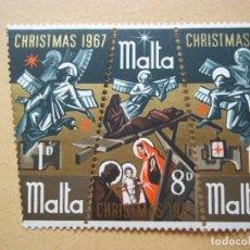 Sellos: SELLOS ANTIGUO MALTA 1967 CRISTMAS NUEVOS CON GOMA. Lote 115507923