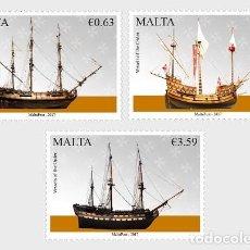 Sellos: MALTA 2017 - MARITIME MALTA SERIES V - VESSELS OF THE ORDER STAMP SET MNH. Lote 115908847