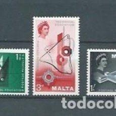 Sellos: MALTA,1958,ENSEÑANZA PROFESIONAL,NUEVOS,MNH**,YVERT 259-261. Lote 116887136