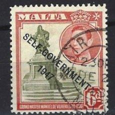 Sellos: MALTA - COLONIA BRITÁNICA - SELLO USADO SOBREIMPRESO. Lote 120358523