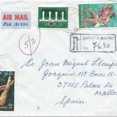 Sellos: AÑO 1984. SOBRE CIRCULADO CERTIFICADO DESDE VALLETTA A PALMA DE MALLORCA. DEPORTES. EUROPA.. Lote 120634715