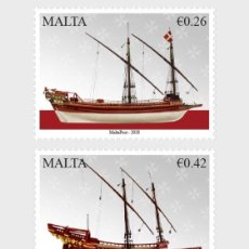 Sellos: MALTA 2018 - MARITIME MALTA SERIES VI - VESSELS OF THE ORDER STAMP SET MNH. Lote 120966039