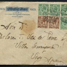 Sellos: MALTA, SELLOS, CARTA CIRCULADA DESDE MALTA A ESPAÑA, 1921, LETTER MALTE. Lote 125361787