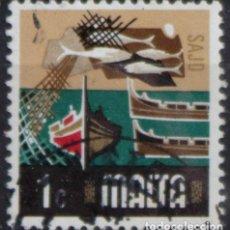 Sellos: MALTA 1973 • YT 463 USADO • ASPECTOS DE MALTA: PESCA. Lote 132914082