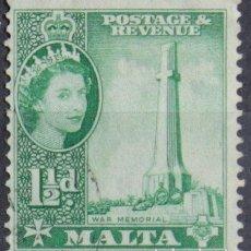 Sellos: MALTA 1956 • YT 242 USADO • ELIZABETH II. Lote 132977366