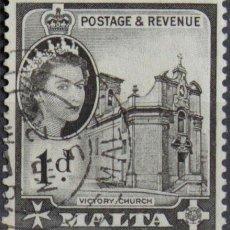 Sellos: MALTA 1956 • YT 241 USADO • ELIZABETH II. Lote 132977546