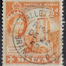 Sellos: MALTA 1956 • YT 240 USADO • ELIZABETH II. Lote 132977646