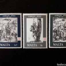 Sellos: MALTA. YVERT 561/3. SERIE COMPLETA NUEVA SIN CHARNELA. PINTURAS. GRABADOS DE A. DURERO. Lote 142753136