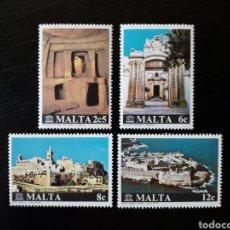 Sellos: MALTA. YVERT 598/601. SERIE COMPLETA NUEVA SIN CHARNELA. RESTAURACIÓN DE MONUMENTOS. UNESCO. Lote 142754221