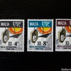 Sellos: MALTA. YVERT 375/7. SERIE COMPLETA NUEVA CON CHARNELA. FERIA COMERCIAL INTERNACIONAL. Lote 142757878