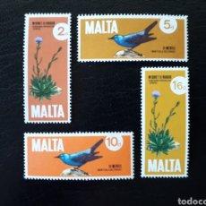 Sellos: MALTA. YVERT 431/4. SERIE COMPLETA NUEVA CON CHARNELA. FLORA Y FAUNA. AVES.. Lote 142758965