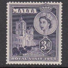 Sellos: MALTA 1954 - VISITA DE LA REINA ELISABETH - YVERT Nº 235**. Lote 143500318