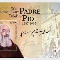 Sellos: MALTA 2018 - 50TH ANNIV. OF THE DEATH OF PADRE PIO 1887-1968 SHEET MNH. Lote 147353026
