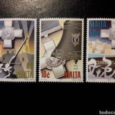 Sellos: MALTA. YVERT 866/8 SERIE CTA NUEVA ***. DEFENSA DE BOMBARDEOS SEGUNDA GUERRA MUNDIAL.. Lote 151351764
