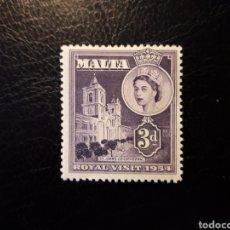 Sellos: MALTA. YVERT 235 SERIE COMPLETA NUEVA CON CHARNELA. VISITA REINA ISABEL II DE INGLATERRA. Lote 151358385