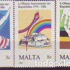 Sellos: MALTA 697/9 ANIVERSARIO REPÚBLICA. Lote 160619142