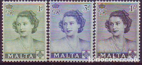 MALTA 222/4 VISITA PRINCESA ISABEL (Sellos - Extranjero - Europa - Malta)