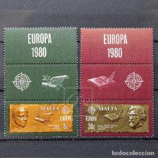 Sellos: MALTA 1980 ~ EUROPA CEPT: PERSONAJES DESTACADOS • CON VIÑETAS ~ SERIE NUEVA MNH LUJO. Lote 132876630
